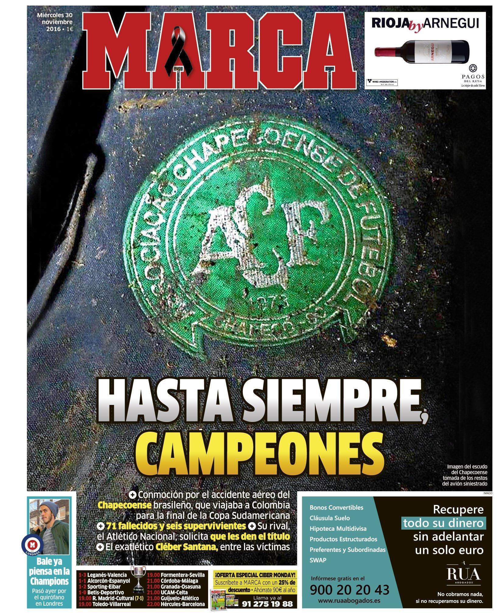 La Une du journal espagnol Marca du 30 novembre 2016.
