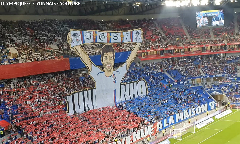 tifo bad gones lyon olympique lyonnais football parc ol groupama stadium juninho