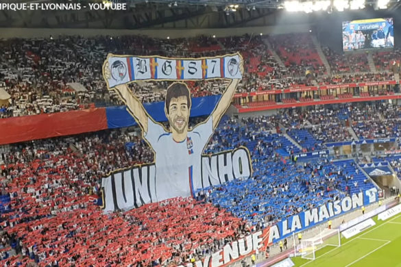 tifo bad gones lyon olympique lyonnais football parc ol groupama stadium juninho